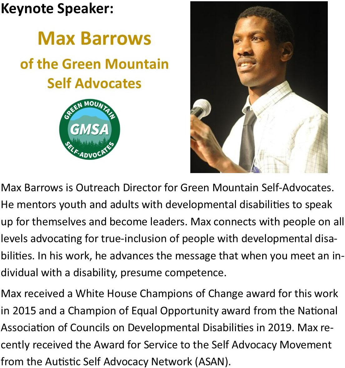 Max Barrows of Green Mountain Self advocates